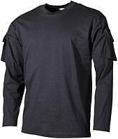 Тактическая футболка (XXXL) спецназа США с длинным рукавом, чёрная, с карманами на рукавах, х/б MFH 00123A
