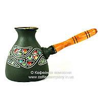 Турка керамическая большая ручная роспись Цветной камень 450мл 9341
