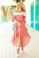 Летнее женское персиковое платье в горошек Мира Jadone Fashion 42-50 размеры