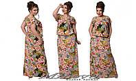 Штапельное платье в пол цветочного принта батал