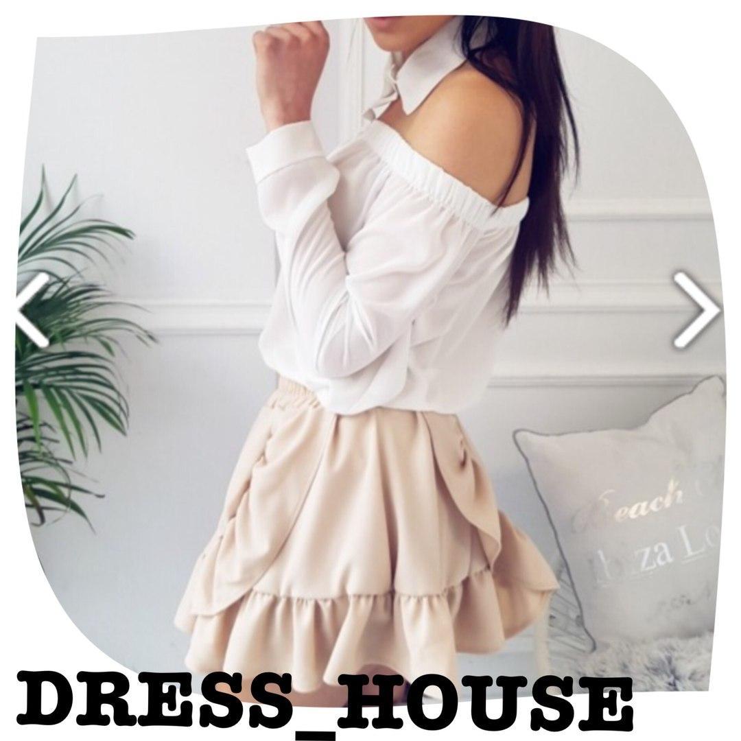 Женская мини юбка с рюшем