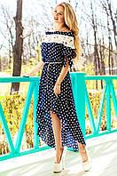 Летнее женское темно-синее платье в горошек Мира Jadone Fashion 42-50 размеры
