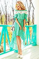 Летнее женское бирюзовое платье в горошек Мира Jadone Fashion 42-50 размеры