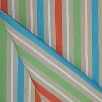 Ткань полоса фисташка/оранж/голубой