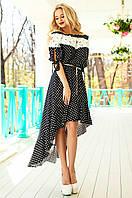 Летнее женское черное платье в горошек Мира Jadone Fashion 42-50 размеры