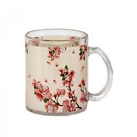 Чашка стеклянная 325 мл. с рисунком Цветущая вишня SNT 930-6