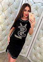 Женское стильное платье с камнями (2 цвета)