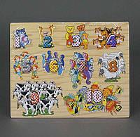 Деревянная игра детская Цифры и животный