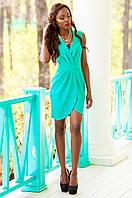 Элегантное платье на запах Одри аквамарин Jadone Fashion 42-48 размеры