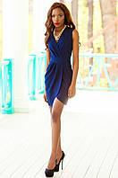 Элегантное темно-синее платье на запах Одри Jadone Fashion 42-48 размеры