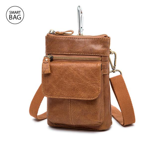 Кожаная светло-коричневая мужская мини-сумочка на плечо Marrant