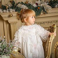 Крестильная рубашка для девочки Софья от Miminobaby молочная от 0 - 6 месяцев