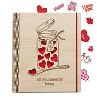 """Блокнот из дерева обложка """"Love"""" (А5 формат )"""