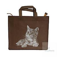 Эко сумка для покупок маленькая коричневая с принтом котёнка