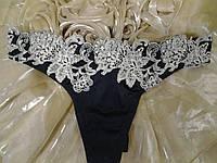 Трусики стринги черные с белым цветочным кружевом от TM Balaloum, фото 1