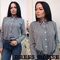 Женская блузка в полоску с вышивкой