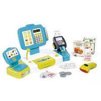 Касса  детская интерактивная выдает чек с дисплеем голубая Smoby 350105