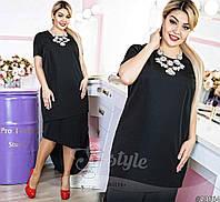 Платье коктейльное женское однотонное батал