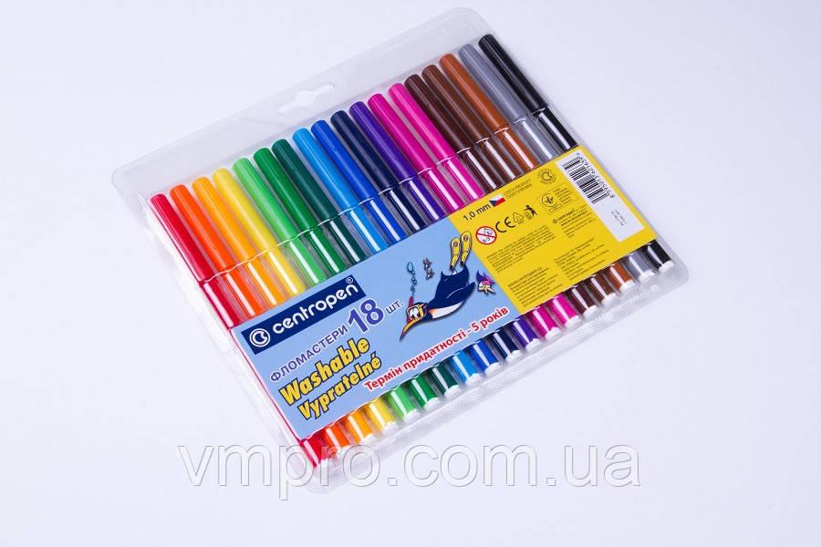 Фломастеры Centropen, 18 цветов, фломастеры для рисования на водной основе.