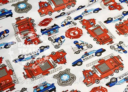 Лоскут ткани №724а  с пожарными и полицейскими машинами