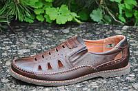 Туфли мужские открытые, летние натуральная кожа коричневые удобные Харьков