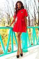 Женское красное платье-туника Латино Jadone Fashion 42-50 размеры