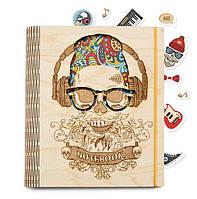 """Блокнот стильный с деревянной обложкой """"Череп в окулярах"""" (А5 формат )"""