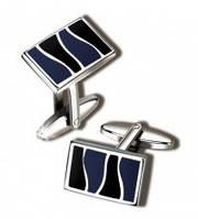 Интересные мужские запонки S.Quire 11-771 серебристого цвета с черно-синими вставками