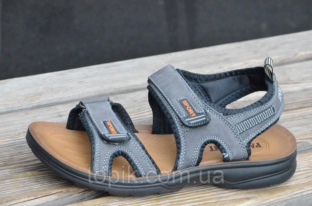 Босоножки, сандали на липучках мужские удобные серые искусственная кожа (Код: 675а). Только 41р!