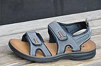 Босоножки, сандали на липучках мужские удобные серые искусственная кожа (Код: 675а). Только 41р!, фото 1