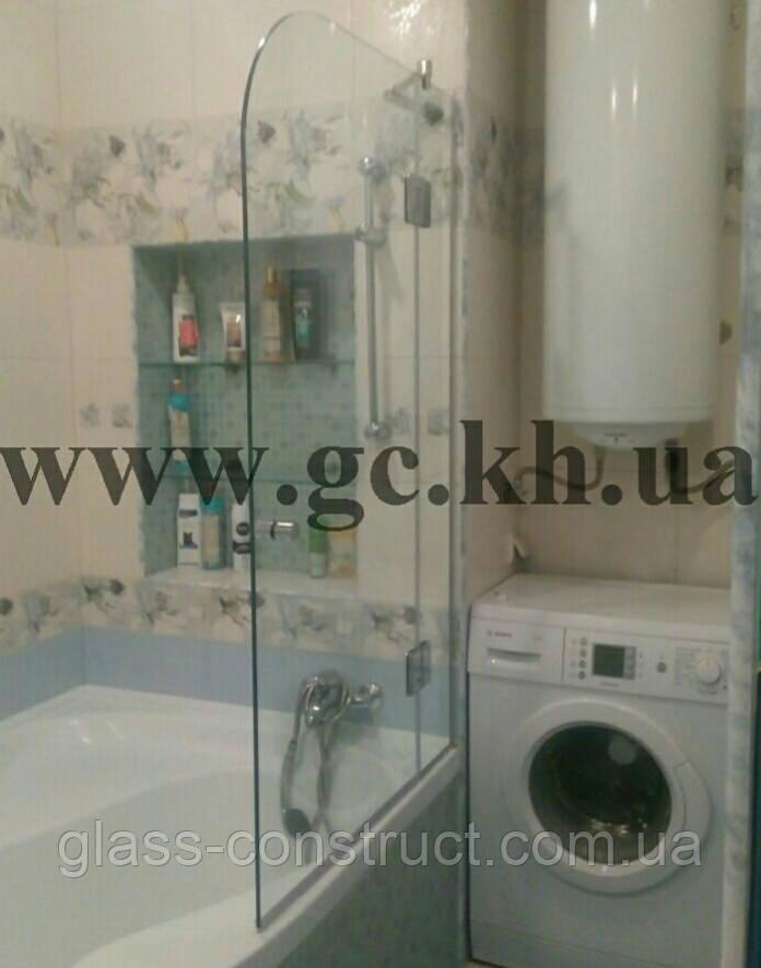 Шторка на ванну фронтальная прозрачная со скруглением - Glass Construct в Харькове