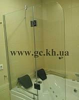 Шторка на ванну фронтальная прозрачная со скруглением
