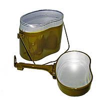 Армейский котелок ссср, котелок солдатский, анатомическая форма, из пищевого алюминия, 1,3 л, фото 1