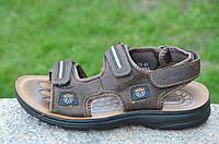 Босоножки, сандали на липучках мужские удобные коричневые искусственная кожа (Код: 679а). Только 42р!
