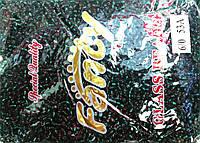 Бисер крупный 450грм в упаковке, цвет  темно-зеленый-серебро