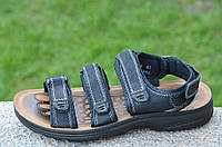 Босоножки, сандали на липучках мужские стильные черные искусственная кожа (Код: 680а)