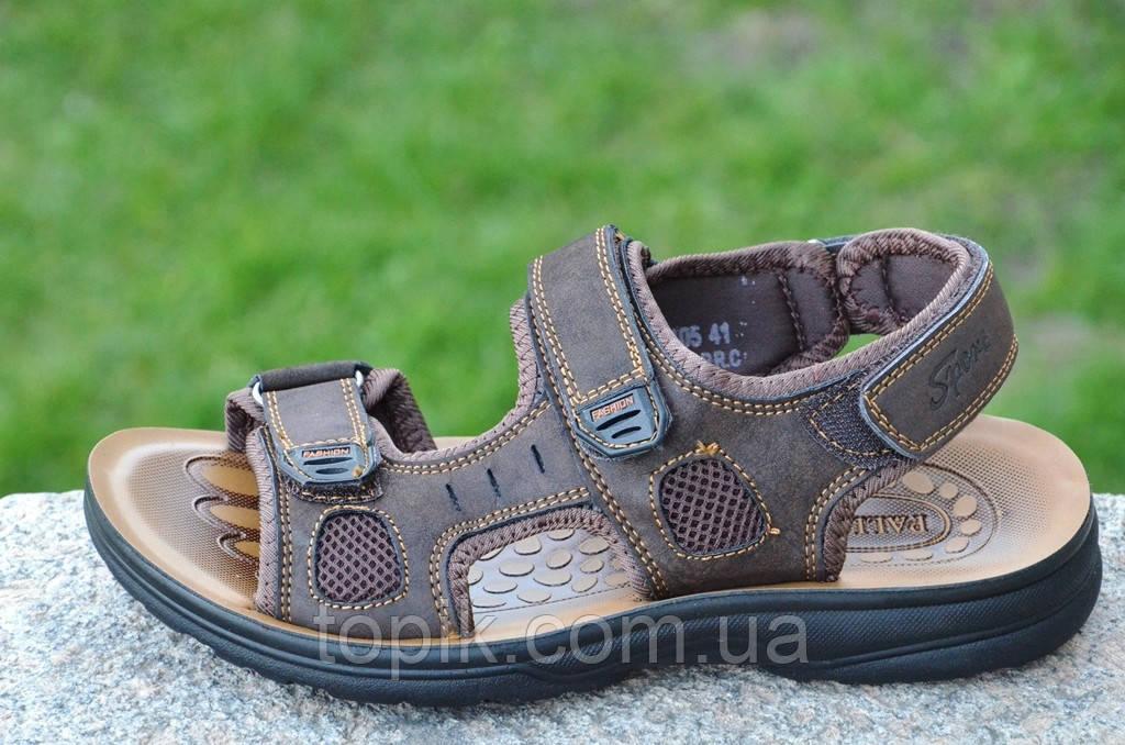 Босоножки, сандали на липучках мужские стильные коричневые искусственная кожа (Код: 681а). Только 41р!