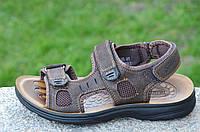 Босоножки, сандали на липучках мужские стильные коричневые искусственная кожа (Код: 681а). Только 41р!, фото 1
