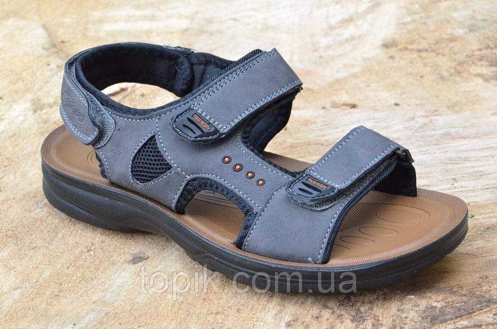 Босоножки, сандали на липучках мужские комфортные серые искусственная кожа (Код: 683а)