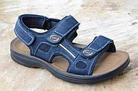 Босоножки, сандали на липучках мужские комфортные темно синие искусственная кожа