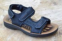 Босоножки, сандали на липучках мужские модные черные искусственная кожа