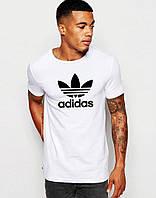 Футболка Adidas, белая, с логотипом на груди