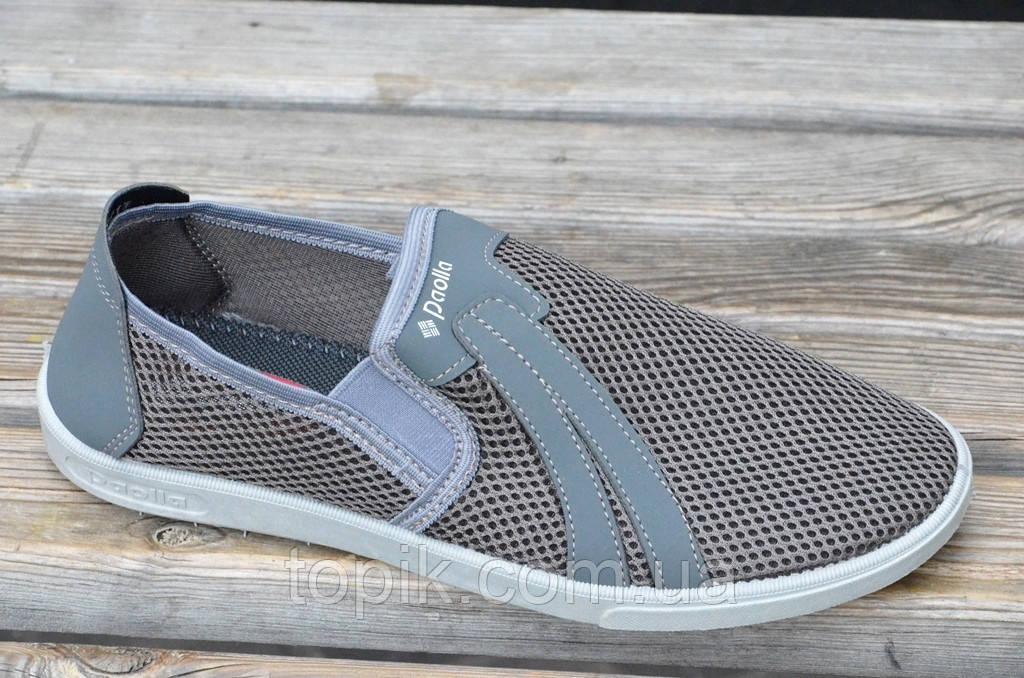 Туфли мокасины летние прочная сетка мужские серые легкие хорошая подошва Львов (Код: 687а)