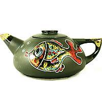 Чайник заварочный керамический большой ручная роспись Рыбы 9359
