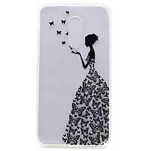 Чехол накладка силиконовый с рисунком для Lenovo K6 Note K53a48 Butterfly Dress