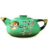 Чайник заварочный керамический большой ручная роспись Китайская весна зеленый 9360