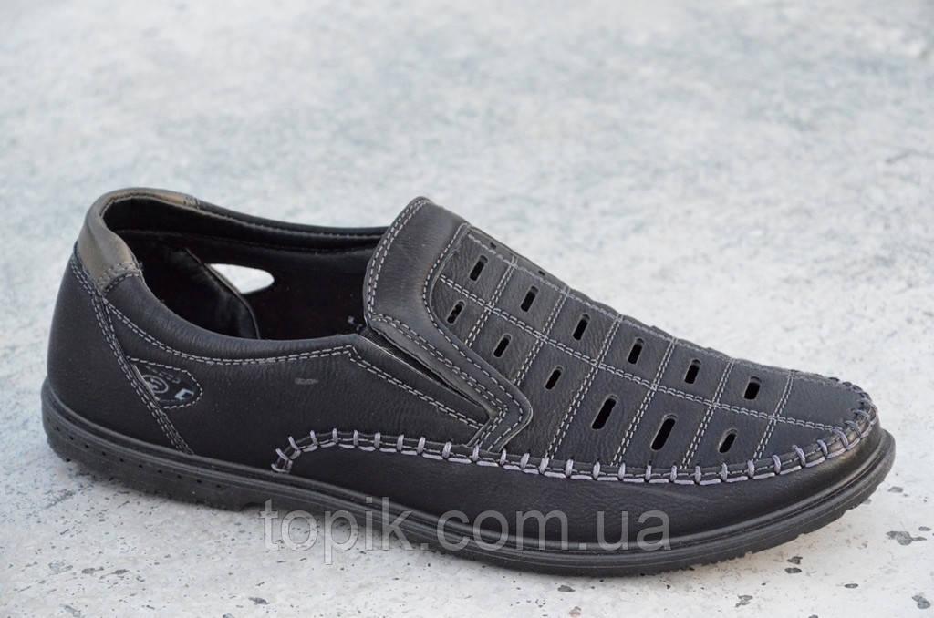 Туфли летние в дырку мужские искусственная кожа черные удобные Украина (Код: 689а)