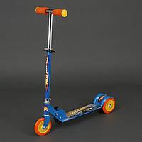 Самокат Хот Вилс для детей 3-6 лет, 3 колеса 12,5 см, PVC. Детский самокат