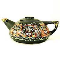 Чайник заварочный керамический большой ручная роспись Коты 9362