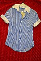Офисная женская рубашка с коротким рукавом